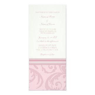 Cream and Pink Swirl Photo Wedding Invitation Card