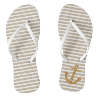 Cream and White Stripes Gold Glitter Anchor Jandals