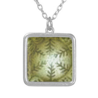 cream ball with ferns silver plated necklace