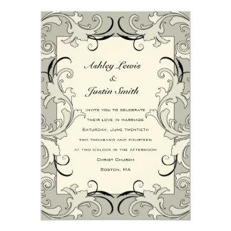 Cream Black Victorian Border Wedding Invitation