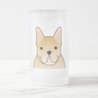 Cream French Bulldog. Dog Cartoon Frosted Glass Mug