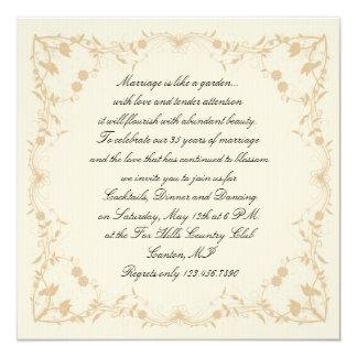 Cream Gold Vintage Pinstripe Floral Anniversary Custom Invites