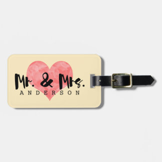 Cream Luggage Tag + Pink Heart - Mr & Mrs Wedding