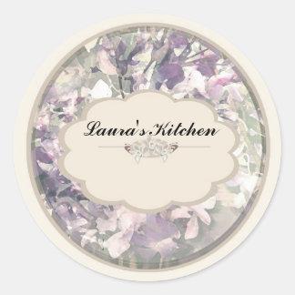 cream orchids spice jar labels round sticker