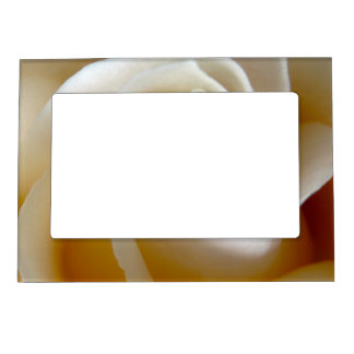 Cream Rose Wedding Photo Magnetic Picture Frame