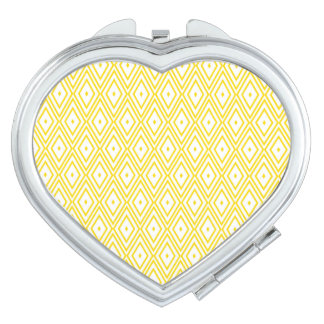 Cream Yellow and White Diamond Pattern Travel Mirrors