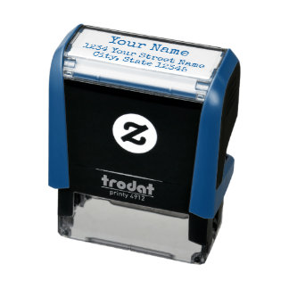 create blue self-inking stamp with name & address