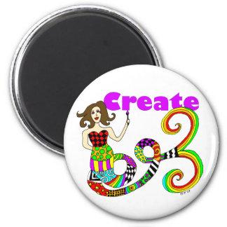 Create Colorful Mermaid Muse Round Fridge Magnet