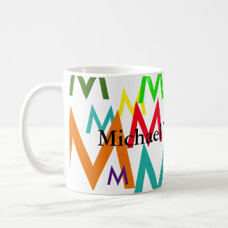 create colorful pattern of initial letters coffee mug