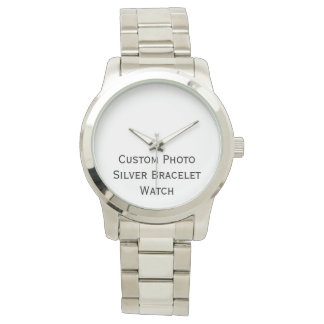 Create Custom Photo Unisex Silver Bracelet Watch