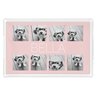 Create Your Own 8 Photo Collage & Name Blush Pink