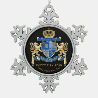 Create Your Own Coat of Arms Blue Gold Lion Emblem Snowflake Pewter Christmas Ornament