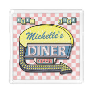Create Your Own Custom Retro 50's Diner Sign Acrylic Tray
