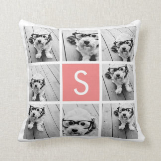 Create Your Own Instagram Collage Custom Monogram Throw Pillow