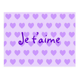 Create Your Own Je T'aime Purple Hearts Postcard