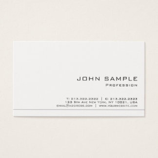 Create Your Own Modern White Matte Chic Business Card