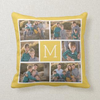 Create Your Own Photo Collage - 6 photos Monogram Cushion