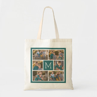 Create Your Own Photo Collage - 6 photos Monogram Tote Bag