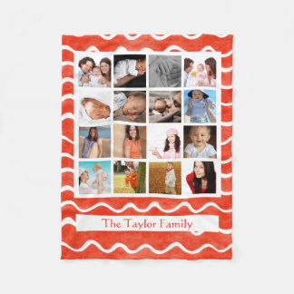 Create Your Own Photo Collage Mosaic Red Pattern Fleece Blanket