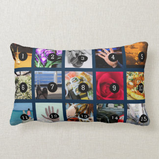 Create Your Own Photo display with 15 images Lumbar Cushion