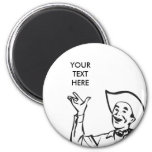 CREATE YOUR OWN RETRO COWBOY GIFTS 6 CM ROUND MAGNET