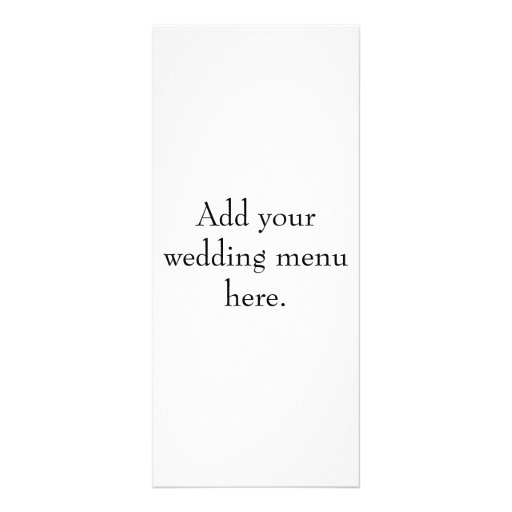 Create Your Own Wedding Reception Menu Cards Full Color Rack Card