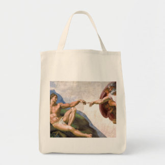Creation of Adam by Michelangelo Grocery Tote Bag