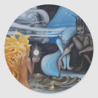 """""""creation"""" original oil painting by Jon Rigby Classic Round Sticker"""