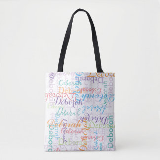 creative colorful name pattern for her tote bag