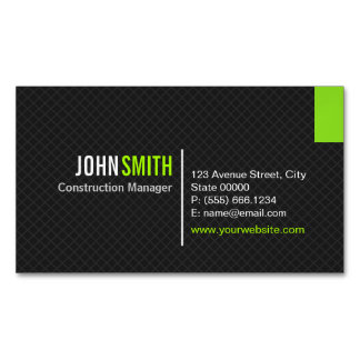 Creative Modern Twill Grid - Classy Black Green Magnetic Business Cards