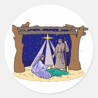 Creche Scene Nativity Scene Manger Round Sticker