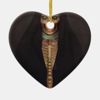 Creep Horror Nun Lady Skull Skeleton Ceramic Heart Decoration