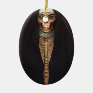 Creep Horror Nun Lady Skull Skeleton Ceramic Oval Decoration
