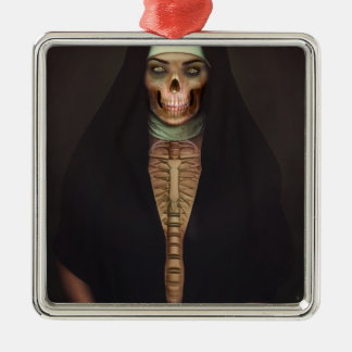 Creep Horror Nun Lady Skull Skeleton Silver-Colored Square Decoration