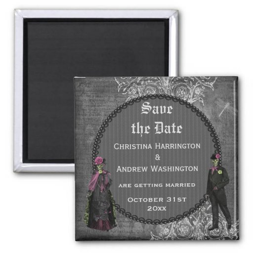 Creepy Halloween Bride & Groom Save the Date Refrigerator Magnet