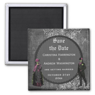 Creepy Halloween Bride & Groom Save the Date Square Magnet