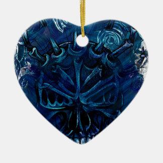Creepy Horror Skull Ceramic Heart Decoration
