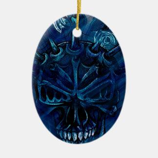 Creepy Horror Skull Ceramic Oval Decoration