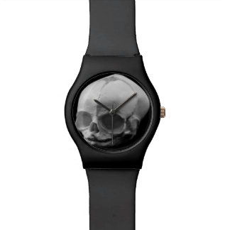 Creepy Infant Skull Goth Black Wrist Watch