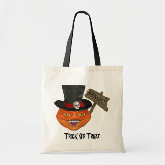 Creepy Pumpkin Head Halloween Tote Bag
