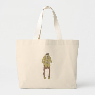 Creepy Zombie With Stitched Eyes With Rotting Large Tote Bag