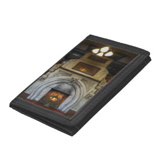 Crescent Hotel Fireplace Tri-fold Wallets