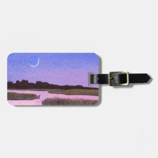 Crescent Moon & Heron Twilight Marsh Luggage Tag