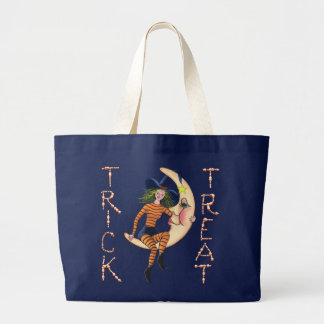 CRESCENT MOON & WITCH by SHARON SHARPE Large Tote Bag