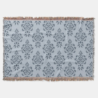 Crest Damask Pattern Blues I Throw Blanket