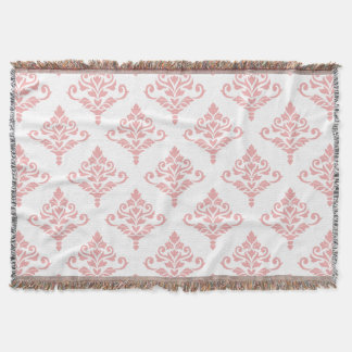 Cresta Damask Pattern (B) Pink Throw Blanket