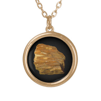 Crested Barite on Black Round Pendant Necklace