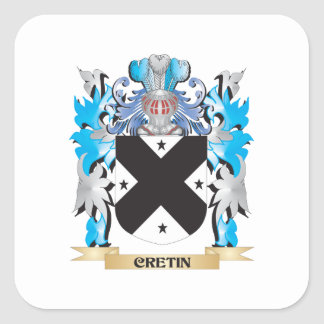 Cretin Coat of Arms - Family Crest Square Stickers
