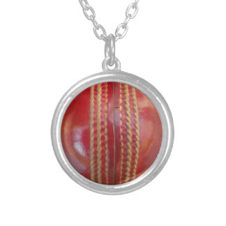 Cricket Ball Silver Plated Necklace