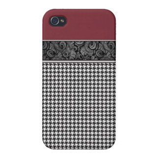 Crimson and Houndstooth iPhone 4/4S Case